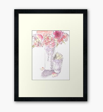 Coffee shop roses Framed Print