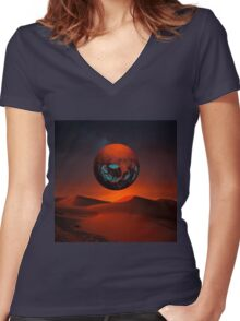 Sunrise in Third System Women's Fitted V-Neck T-Shirt