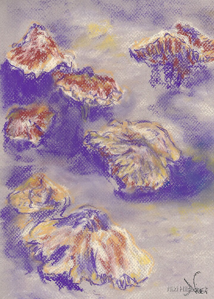 Plein Air Shrooms (pastel) by Niki Hilsabeck