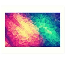 Abstract Polygon Multi Color Cubism Low Poly Triangle Design Art Print