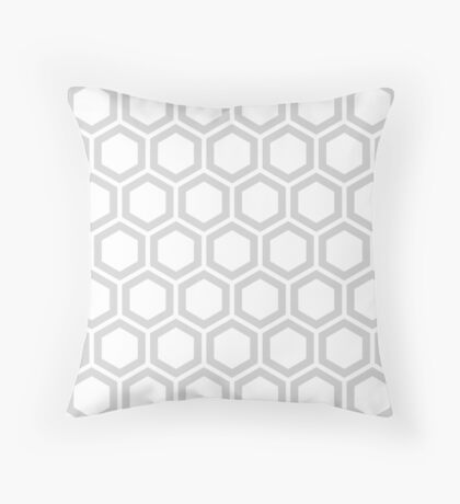 LightGrey honeycomb pattern on white background Throw Pillow