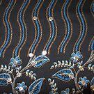 Blue Black flowers pattern by Bindu-Juneja
