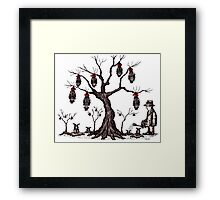 Strange tree surreal black and white pen ink drawing Framed Print