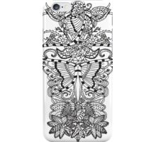 Black white butterfly tangle floral pattern iPhone Case/Skin