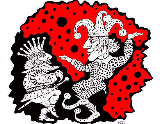 King and Joker surreal black and white and red pen ink drawing by Vitaliy Gonikman