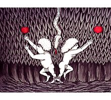 Adam and Eve surreal black and white pen ink drawing Photographic Print