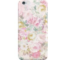 Chic retro pink white watercolor floral pattern iPhone Case/Skin