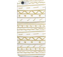 Chic white gold paint hand painted aztec iPhone Case/Skin