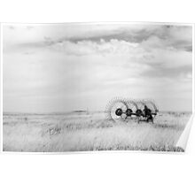 Hay rake -  {Black & White} (Farm equipment) Location: Free state, South Africa Poster