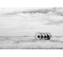 Hay rake -  {Black & White} (Farm equipment) Location: Free state, South Africa Photographic Print