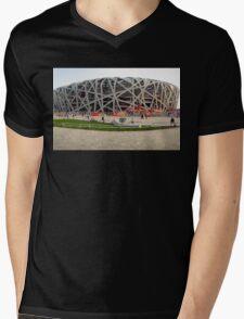 Beijing National Olympic Stadium Mens V-Neck T-Shirt