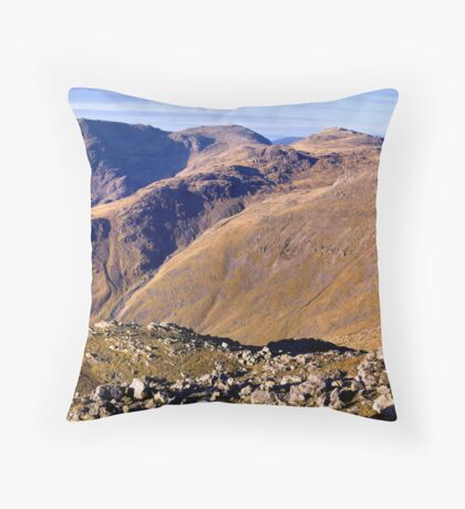Scafell Pike, Esk Pike, and Bow Fell - The Lake District Throw Pillow
