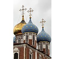 cross and gold stars on the church dome Photographic Print