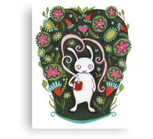 White Rabbit with Coffee Canvas Print