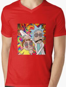 Rick and Morty Eyes Open Trip Mens V-Neck T-Shirt