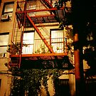Red Fire Escape - East Village - New York City by Vivienne Gucwa