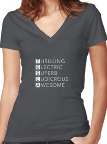 TESLA - Thrilling, Electric, Superb, Ludicrous, Awesome Women's Fitted V-Neck T-Shirt