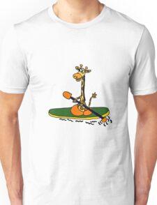 Cool Funny Kayaking Giraffe Art Unisex T-Shirt