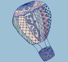Hand Drawn Zentangle Hot Air Balloon! Womens Fitted T-Shirt