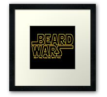 Beard Wars May The Fuzz Be With You Men's Funny Beard Sci-fi T-Shirt Framed Print