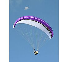 Paragliding at Stanwell Park with moon Photographic Print
