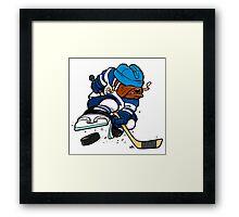 Ice hockey playing dog Framed Print