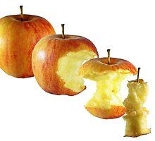eating apple step by step by Klaus Vartzbed