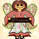 Christmas Angel - spreading seasons greetings. by Lisa Frances Judd ~ Original Australian Art