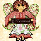Christmas Angel - spreading seasons greetings. by Lisa Frances Judd~QuirkyHappyArt