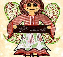 Christmas Angel - spreading seasons greetings. by Lisa Frances Judd~QuirkyHappyArt