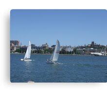 Sails on Newcastle Harbour Canvas Print