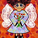Groovey Angel - She&#x27;s a hippy chick! by Lisa Frances Judd ~ Original Australian Art