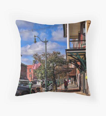 The Quaint Street of Brookville Throw Pillow