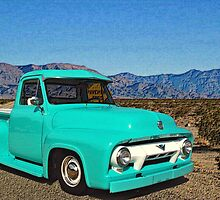 "1956 Ford F-100 Pickup Truck ""Pavements Ends"" by TeeMack"