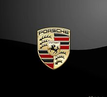 Porsche - 3D Badge on Black by Serge Averbukh