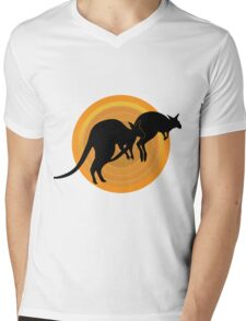 Kangaroos Running Mens V-Neck T-Shirt