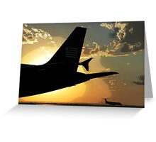 Airbus A320 Against a Western Sunset, Denver Greeting Card