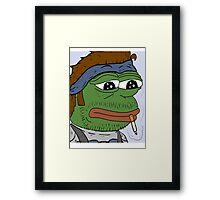 Pepe smoke frog  Framed Print