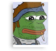 Pepe smoke frog  Metal Print