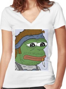 Pepe smoke frog  Women's Fitted V-Neck T-Shirt