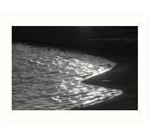 Water and sand B &W Art Print