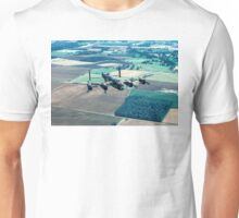 Lancaster B.1 PA474 over Folly Farm Wood Unisex T-Shirt