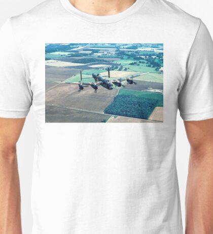 Lancaster B.1 PA474 over Folly Farm Wood Unisex T-Shirt
