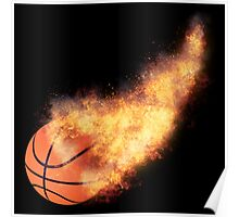 Flaming Basketball Poster