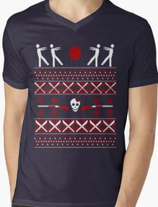 Zombie Christmas Shirt Mens V-Neck T-Shirt