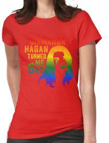 Diamanda Hagan Turned Me Gay (Rainbow) Womens Fitted T-Shirt