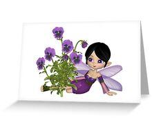Cute Toon Purple Pansy Fairy, Sitting Greeting Card