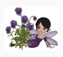 Cute Toon Purple Pansy Fairy, Sitting One Piece - Short Sleeve