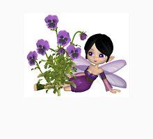 Cute Toon Purple Pansy Fairy, Sitting Unisex T-Shirt