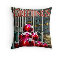 City Style Seasonal Greetings, a Holiday Card Throw Pillow